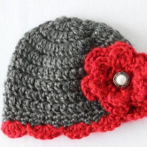 Preemie Baby Girl Crochet Beanie Hat Cap Gray & Red