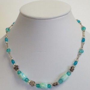 Blue and White Barrel Beads with Blue crackle glass round beads and flat metal flower beaded necklace