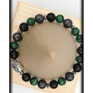 Hematite, Malachite and Black Onyx Buddha Bracelet for Stability
