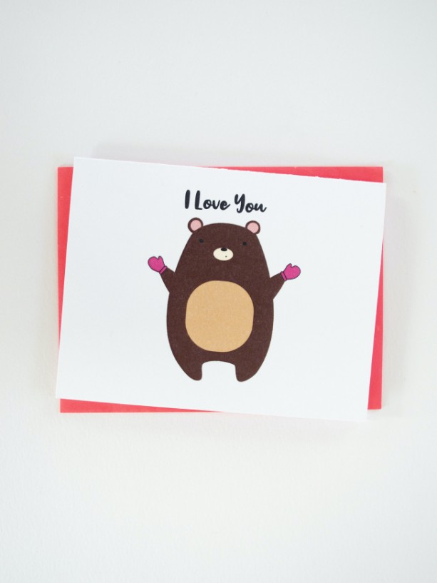 I Love You Beary Much Greeting Card (Cute Bear Inside)