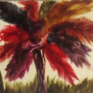 One Tree - Nature Encaustic Modern Wax Art Painting - Free Shipping - 12 x 12