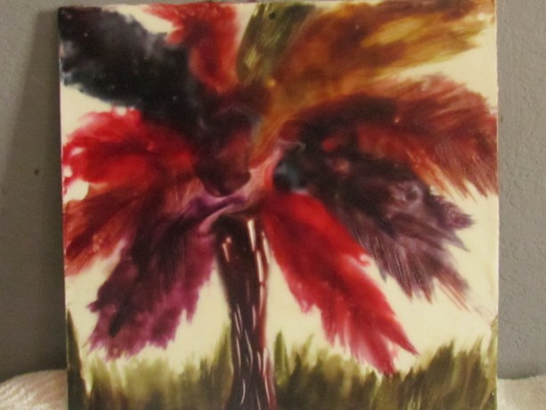 One Tree - Nature Encaustic Modern Wax Art Painting - Free Shipping - 12 x 12