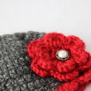 Preemie Baby Girl Crochet Beanie Hat Cap Gray & Red
