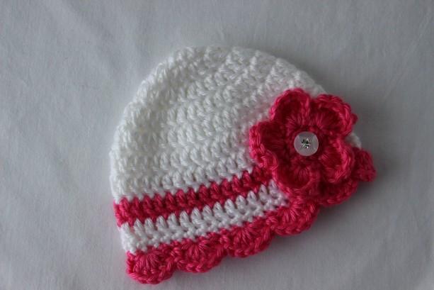 Newborn Baby Girl Beanie Hat Cap Pink and White