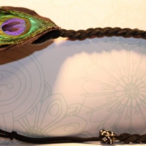 Peacock Feather Headband with Black Leather