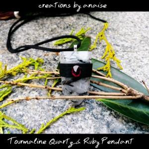Tourmaline Quartz & Ruby Pendant