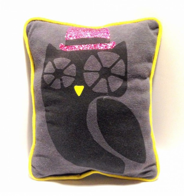 Owl in a Pink Hat T-shirt pillow
