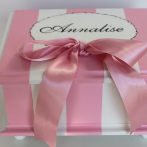 French stripe baby keepsake Memory Box personalized - pink & black baby gift