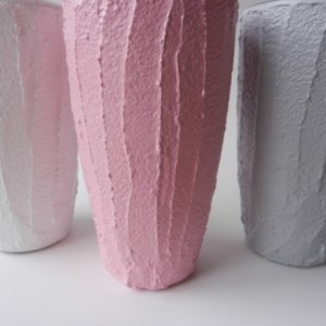 Trio of Vases / Instant collection / cottage Home Decor / set of 3 / pink, grey