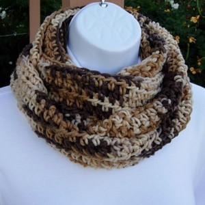 SUMMER SCARF Infinity Loop Cowl Brown Beige Tan Cream Multicolor Handmade Crochet Knit Endless Circle..Ready to Ship in 3 Days