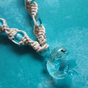 Handmade Natural Hemp Necklace with Awesome Blue Glow Glass Dolphin Pendant and Matching Blue Glass Beads- Beach Hemp Necklace