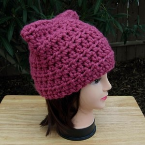 Dark Rose Raspberry Pink Pussy Cat Hat with Ears, PussyHat, Pussy Hat, Handmade Soft Wool Blend Winter Crochet Knit Solid Pink Beanie, Nasty Woman, Women's Protest Hat, Ready to Ship in 2 Days