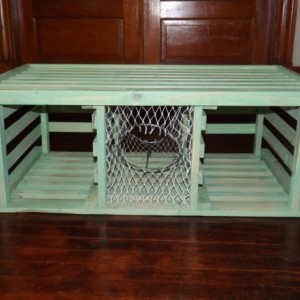 "Handmade Wooden Lobster Trap Coffee Table, ""Sea Mist"" series..."