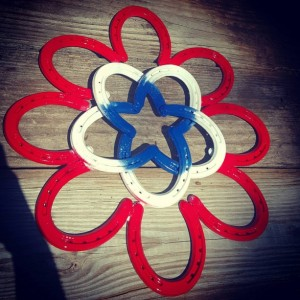 Horseshoe Wreath,  Patriotic wreath, Red White and Blue, Americana Decor,  4th of July decor, Flag decor, primitive decor, Wreath decor, art