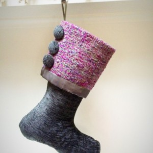 Gray Christmas Stocking, Purple Stocking, Charcoal Gray Stocking, Gray amd Purple Christmas Stocking