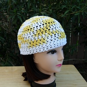 White and Yellow Summer Beanie Hat, 100% Cotton Lacy Skullcap, Women's Crochet Knit, for Hot Weather, Chemo Cap, Ready to Ship in 3 Days