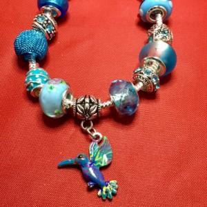 Blue European Charm Hummingbird Bracelet