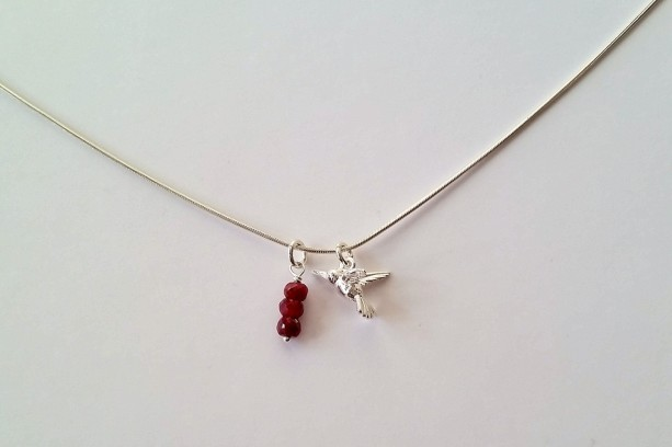 Hummingbird Charm Necklace - Rubies and Sterling Silver