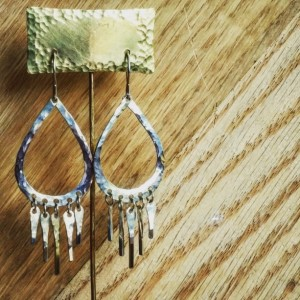 Sterling Silver Dream Catcher Earrings Silver Hoops Drop Earrings Dangle Earrings Hammered Sterling Silver Rustic Boho Jewelry
