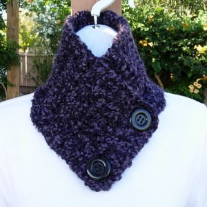 NECK WARMER SCARF Buttoned Cowl Dark Purple Black Soft Handmade Crochet Knit Winter Scarflette with Black Buttons..Ready to Ship in 2 Days