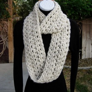 INFINITY SCARF Cowl Loop, Off White Wheat with Black, Bulky Soft Wool Blend Crochet Knit Winter Endless Circle Wrap..Ready to Ship in 3 Days