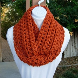INFINITY SCARF Cowl Loop, Pumpkin Solid Orange, Bulky Soft Wool Blend, Crochet Knit Winter Circle Wrap, Neck Warmer..Ready to Ship in 2 Days