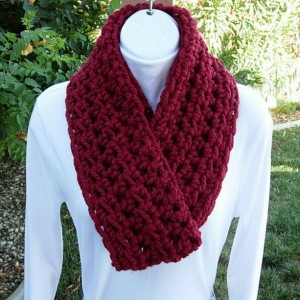 INFINITY LOOP SCARF Cranberry Dark Solid Red, Soft Wool Acrylic Winter Loop Endless Circle Cowl Wrap, Neck Warmer..Ready to Ship in 2 Days