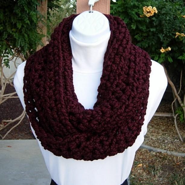 INFINITY SCARF Cowl Loop Dark Burgundy Wine Red & Black, Wool Blend Handmade Crochet Knit Winter Thick Neck Warmer..Ready to Ship in 2 Days