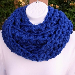 Women's Royal Blue INFINITY SCARF Loop Cowl, Bright Solid Cobalt Blue, Extra Soft Bulky Thick Acrylic Crochet Knit Winter Circle Wrap. Ready to Ship in 3 Days