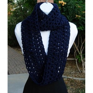 COWL SCARF Infinity Loop, Navy Dark Solid Blue, Wool Acrylic Blend Crochet Knit Winter Endless Circle, Neck Warmer..Ready to Ship in 3 Days
