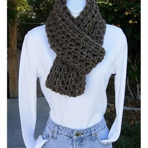 INFINITY SCARF Loop Cowl Taupe Gray Grey Brown Tweed Soft Wool Blend Handmade Crochet Knit Winter Endless Circle, Ready to Ship in 2 Days