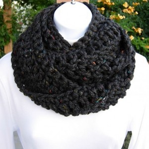 INFINITY SCARF Loop Cowl Black Dark Gray Grey Tweed Extra Soft Bulky Long Crochet Knit Winter Circle Wrap, Neck Warmer..Ready to Ship in 3 Days