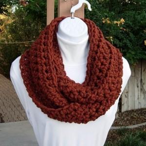 COWL SCARF Infinity Loop Dark Burnt Orange Rust Spice, Soft Wool Blend Bulky Crochet Knit Winter Wrap, Neck Warmer..Ready to Ship in 2 Days