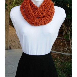 Small INFINITY SCARF, Skinny Loop Scarf, Short Winter Cowl, Solid Orange Soft Wool Blend Crochet Circle Neck Warmer..Ready to Ship in 2 Days