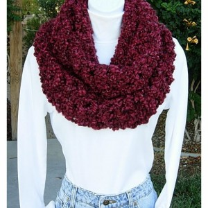 INFINITY SCARF Loop Cowl Dark Wine Red Burgundy Large Thick Bulky Chunky Wide Big Soft Winter Handmade Crochet Knit..Ready to Ship in 3 Days