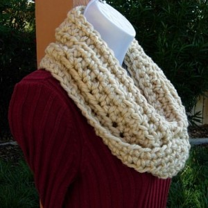 INFINITY SCARF Loop Cowl, Solid Light Beige, Dark Cream, Tan, Soft Bulky Acrylic, Thick Crochet Knit Winter Circle..Ready to Ship In 3 Days