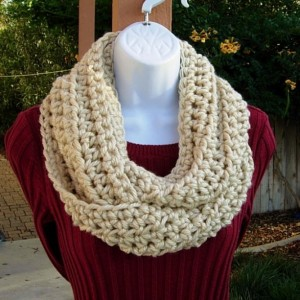 INFINITY SCARF Loop Cowl, Solid Light Beige, Dark Cream, Tan, Soft Bulky Acrylic, Thick Crochet Knit Winter Circle..Ready to Ship In 2 Days