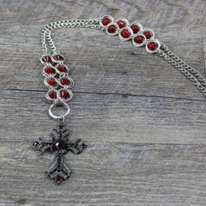 Cross and Spiral Chainmaille Necklace with Red Accent Beads