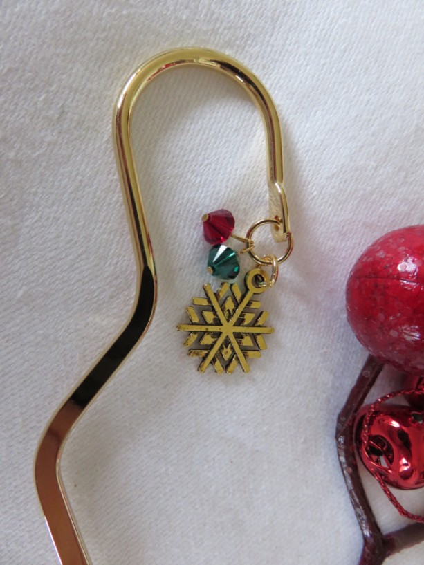 """Brass"" Christmas bookmark with snowflake"