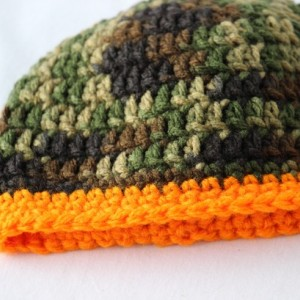 Newborn 0-3 month Baby Boy Beanie Hat Camo and Orange