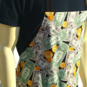 Mens Kitchen Apron, Dollar Bills, Cash Money, Vendor, Casino