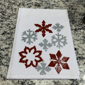 Snowflake kitchen towel, Christmas hand towel, hostess gift, flour sack dish towel, stocking stuffer for Mom, best selling item