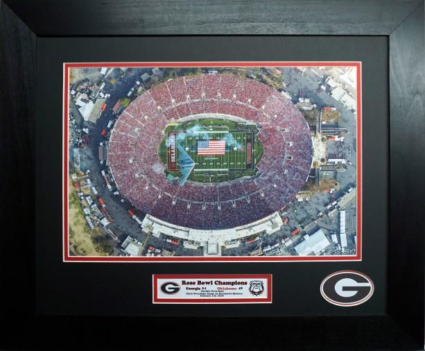 Georgia Bulldogs 2018 Rose Bowl Champions Aerial custom framed picture