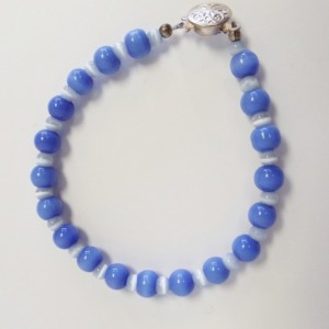 Cornflower Blue and light Blue Cat's Eye Glass Bead Bracelet