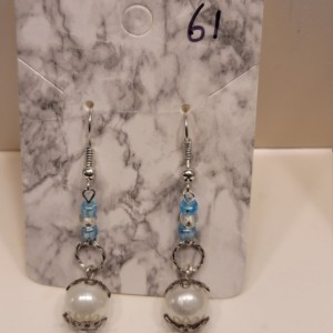 White and blue bead with white imitation pearl earrings