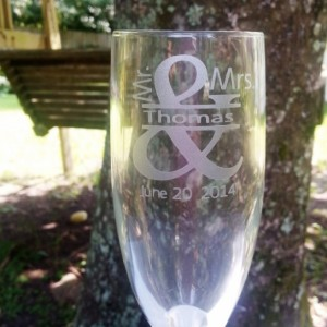 Mr. and Mrs.Toasting Flutes,  Bride and Groom Champagne Glasses Set of 2