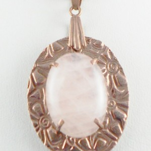Natural Rose Quartz and Copper Pendant with Cord