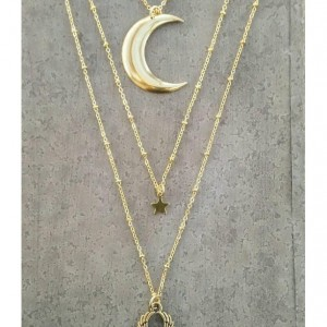 Stevie Nicks Style Necklace  Winged Heart Jewelry Bohemian Gypsy Crescent Moon