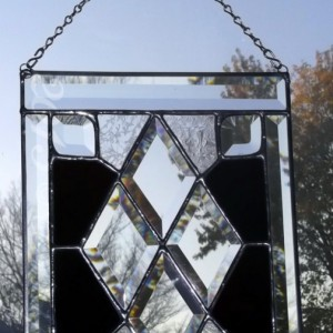 Victorian Deep Plum Glue Chipped Beveled Stained Glass Panel