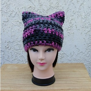 Raspberry Pink, Gray, Black Striped Pussy Cat Hat, PussyHat, Soft 100% Acrylic Handmade Crochet Knit Winter Beanie, Protest March Women's Rights Nasty Woman, Ready to Ship in 3 Days
